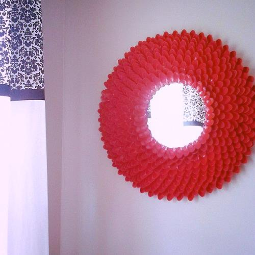 diy plastic spoon mirror, crafts, home decor