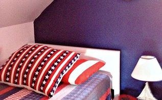 lake house kid s room transformation nautical cottage style, bedroom ideas, home decor, We found horizontal plank style head board and footboard at a yard sale and painted it white The horizontal lines look like the wooden planks on a boat so it worked out great Red night tables were found in an old cabin in Maine