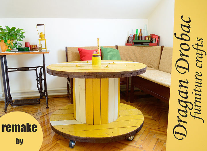 cable spool table, diy, home decor, repurposing upcycling, Cable spool table with wheels by Dragan Drobac