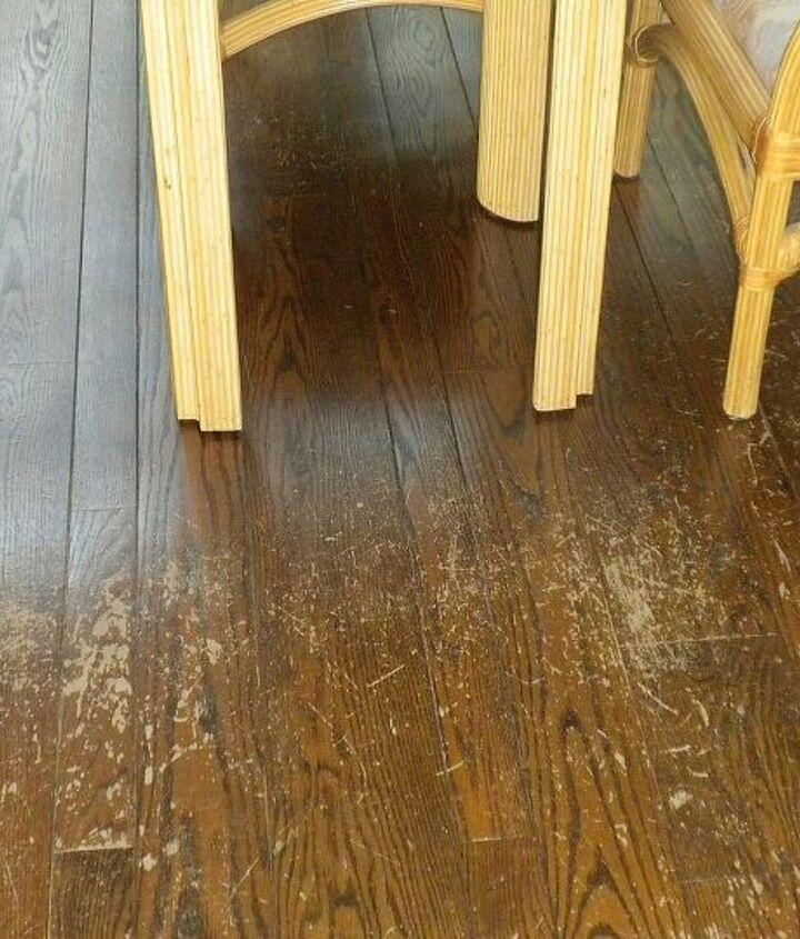 Before:  floors scarred, faded
