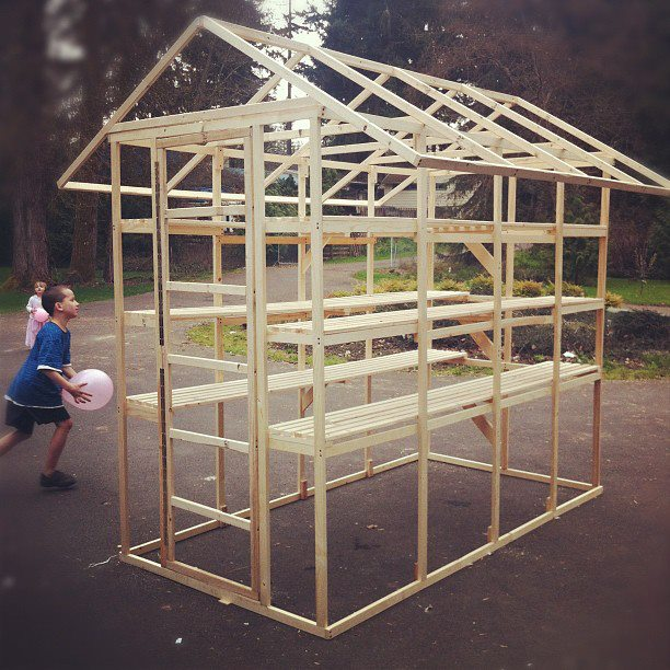 Here is the initial frame. We built it in the front yard and moved it to the back.