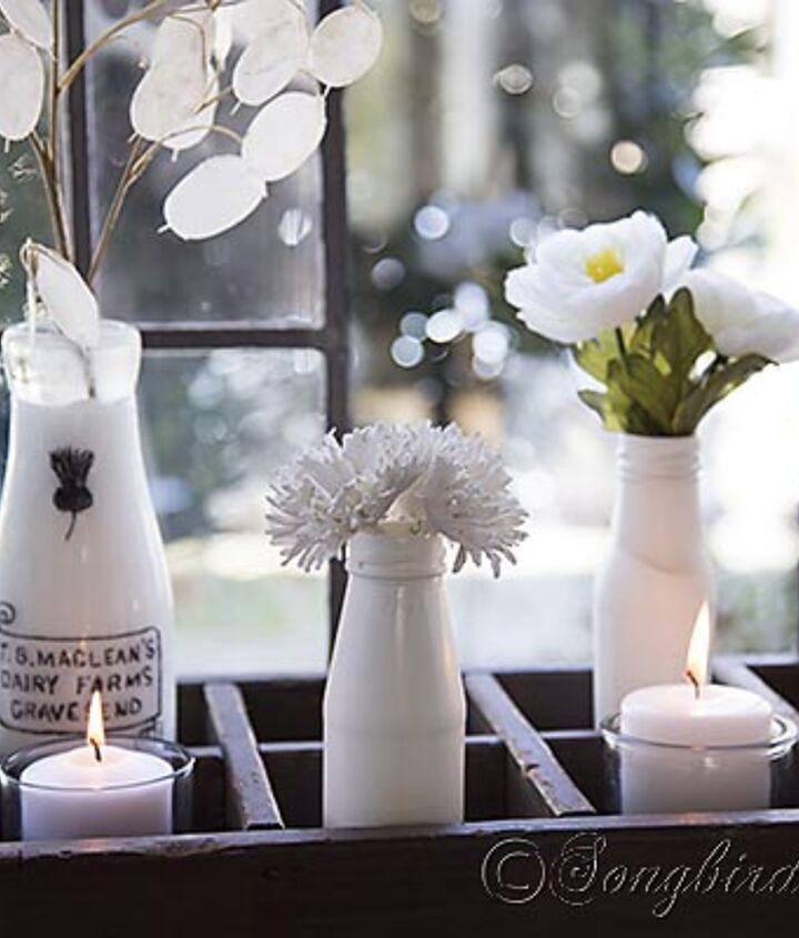 White vases with (fake) flowers will last a pretty long time.