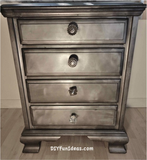 gorgeous shabby chic furniture refurb using krylon looking glass paint, painted furniture, shabby chic