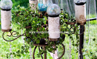 solar candelabra plant stand, crafts, gardening, outdoor living, repurposing upcycling, Solar Candelabra with solar lighting