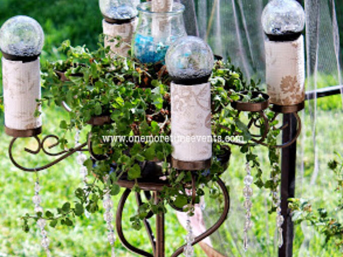 solar candelabra plant stand, crafts, gardening, outdoor living, repurposing upcycling, Solar Candelabra with solar lighting
