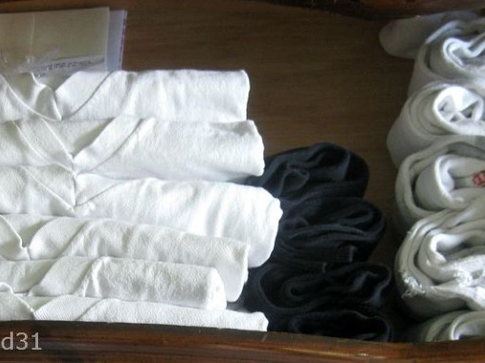 folding and organizing clothes drawer to make more room, organizing, Additional room in the drawer was gained by re folding and filing the items