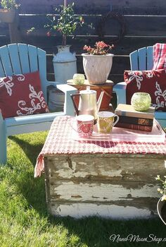 outdoor seating area my summer style, flowers, outdoor living, repurposing upcycling, Lots of repurposed items make up this cozy outdoor seating area I fill my vintage coffee pot with iced coffee and louge here on a warm summer evening