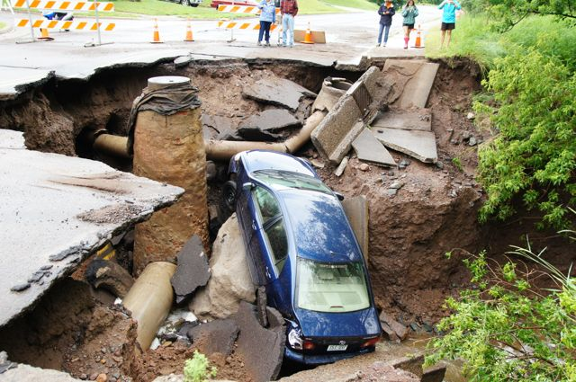 road compleatly washed away