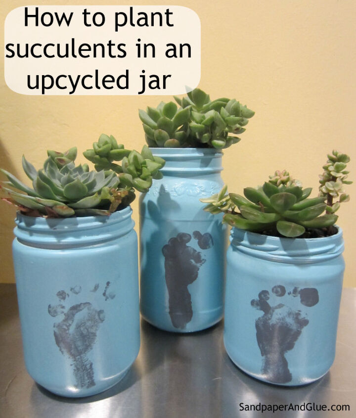 all you need is an old jar, some paint, soil & succulents!