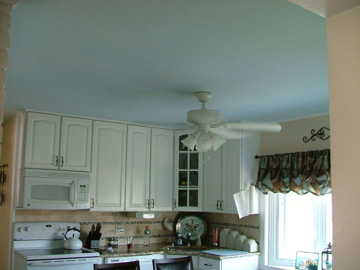 painted my kitchen ceiling a light blue, kitchen design, painting