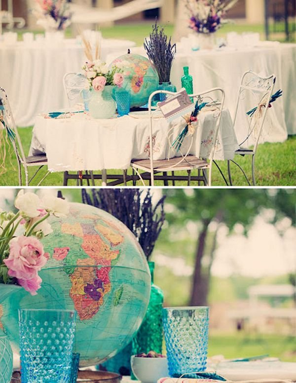 Old globes can make for fascinating table decorations. Yes, they take up a lot of space but if you are planning travel-themed wedding, they are just what you need!