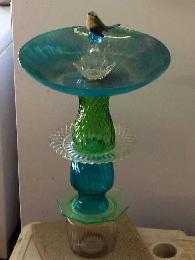 recycled glass birdbath, crafts, repurposing upcycling