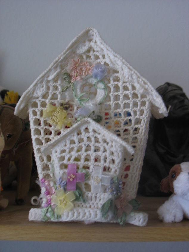 crocheted bird cage, crafts