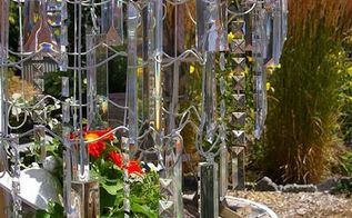 garden chandelier made from wire garden fencing, crafts, outdoor living, repurposing upcycling, Concentric circles of fencing create a tiered chandelier with dripping resin crystals
