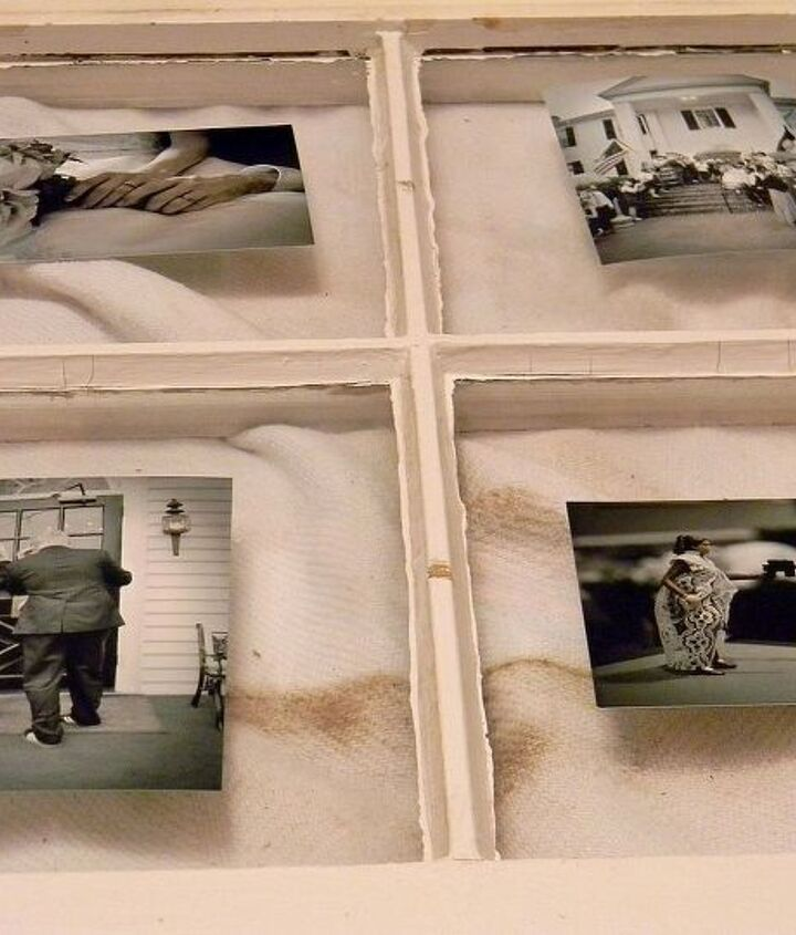using an old window to display photos, crafts, repurposing upcycling, Attach your photos using clear scrapbooking photo corners Be sure you have everything arranged where you want it before attaching the photos