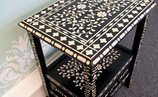 video tutorial how to stencil furniture with the indian inlay stencil, painted furniture