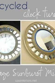 upcycled clock turned sunburst mirror, crafts, garages, repurposing upcycling, Upcycled Clock Turned Vintage Sunburst Mirror