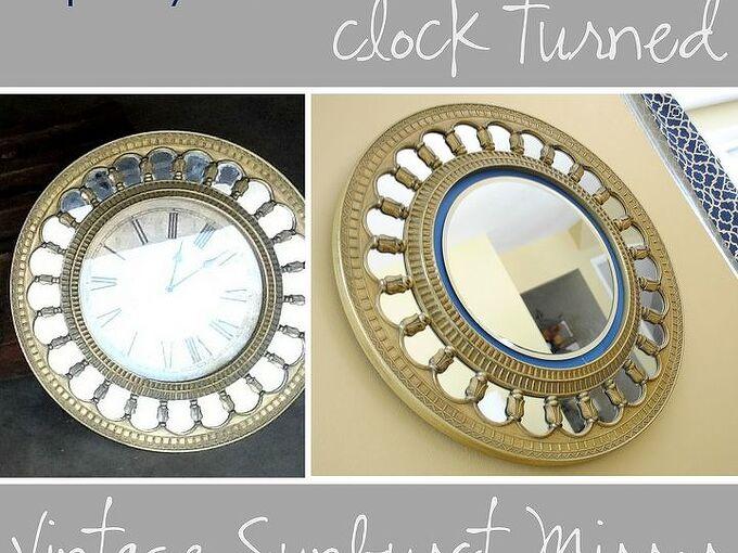 upcycled clock turned sunburst mirror, crafts, garages, repurposing upcycling, Upcycled Clock Turned Vintage Sunburst Mirror