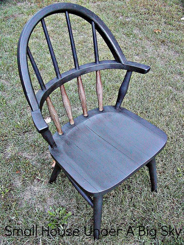 A roadside rescue, I transformed this chair using glue, chalk paint and dark wax.