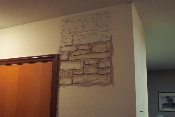 Plain Walls Are Transformed In To Stone Walls With Joint Compound