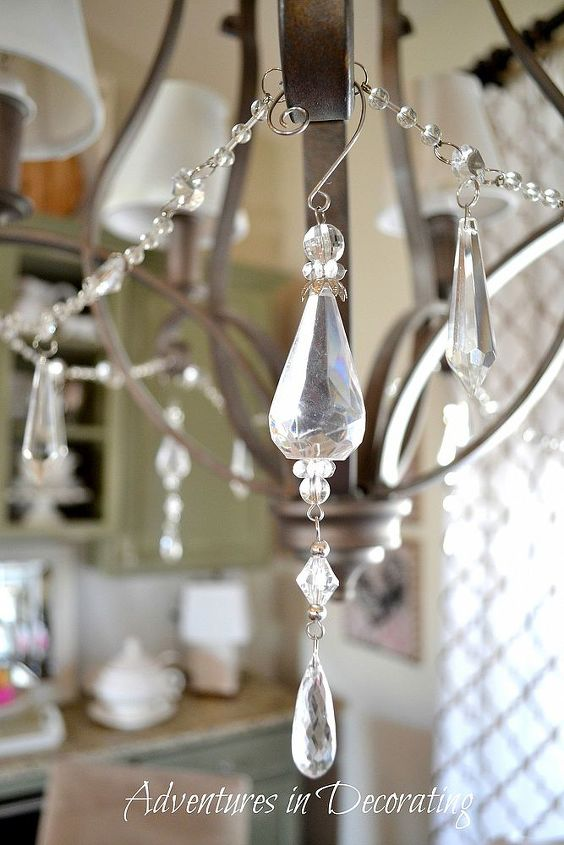 Adding inexpensive crystals to your chandie is a fun way to give it a bit of bling,