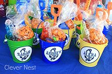 classic nautical first birthday, home decor, Nautical themed party favors in metal pails Get the printable label here
