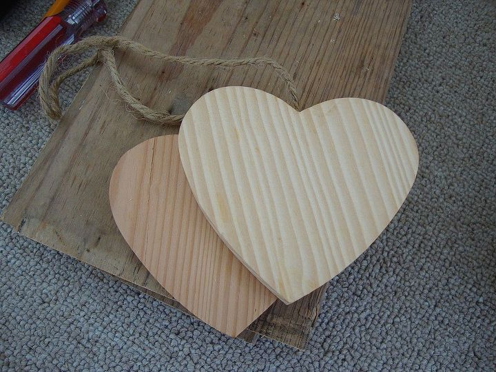 The wooden hearts were ornaments I distessed