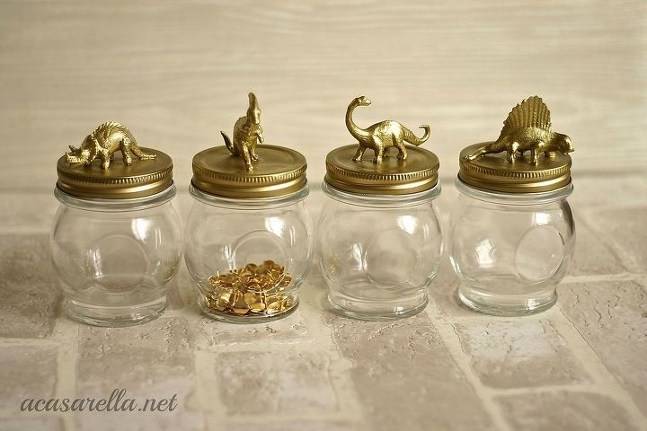 i took these jars from drab to dino mite, crafts, painting, repurposing upcycling