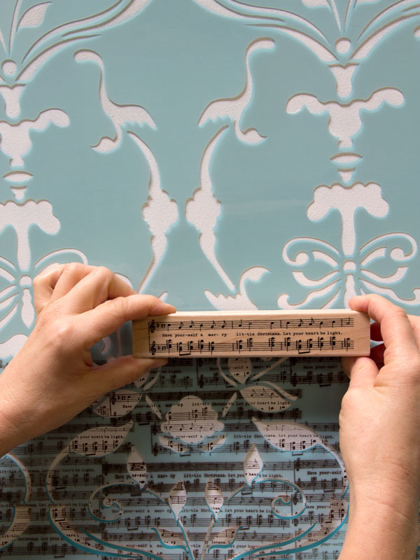 Looking for a uniform or distressed look for your stamped stencil pattern, it's all in the amount of ink. http://www.royaldesignstudio.com/blogs/how-to-stencil/7908799-stencil-how-to-stamping-the-splendor-damask