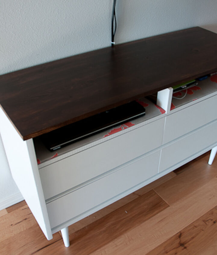I replaced the original veneer top with an oak slab which I stained and polyed.