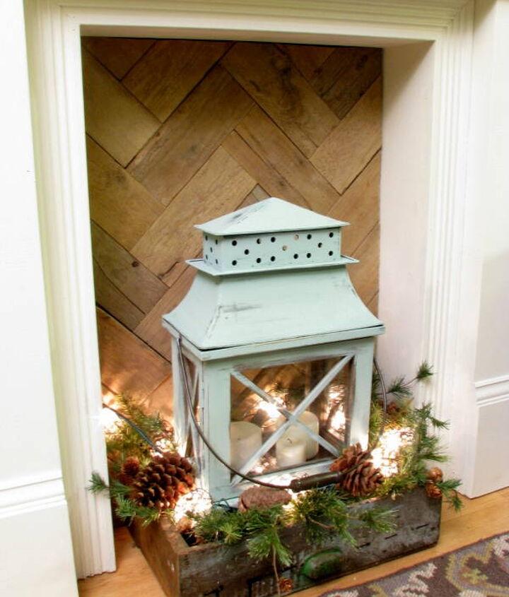 "pallet wood ""firebox"" insert for a faux fireplace"