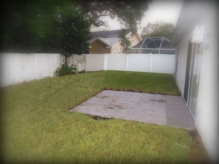 Ugly, un-used patio.  Direct sunlight in the morning and mid afternoon.  9/8/13