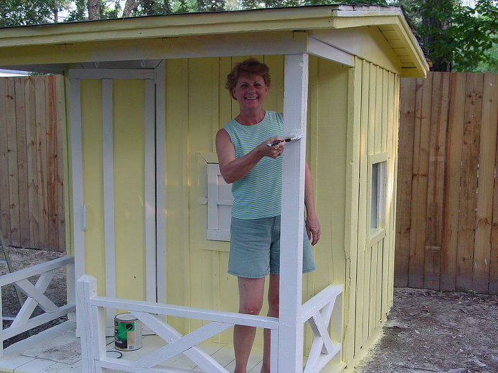 my granddaughter s playhouse, diy, how to, fire pit, repurposing upcycling, After Papaw finished the spray painting my job was to paint the trim