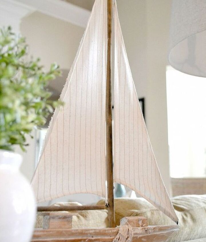 A cute ship from Home Goods takes center stage.