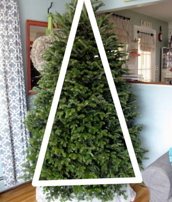 Visually create three triangles on your tree.