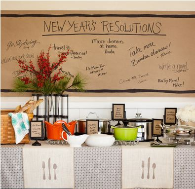 Potluck: Summon the neighbors to a relaxed potluck dinner where everyone contributes. Have guests write dish names on brown kraft paper slipped into footed frames; a paper wall banner displays their resolutions.