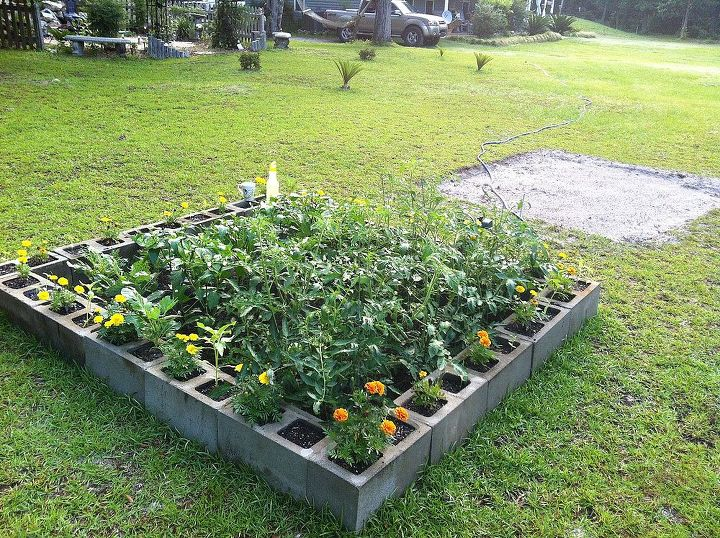 square footing it with concrete blocks, gardening