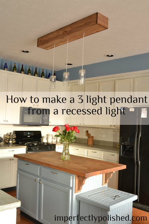 how to create a 3 pendant light fixture from a recessed light, home decor, lighting