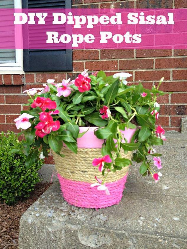 diy sisal rope flower pots, crafts, flowers, gardening, DIY Sisal Rope Flower Pot