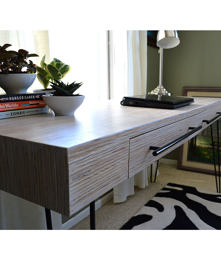 The plywood-scrap desk.