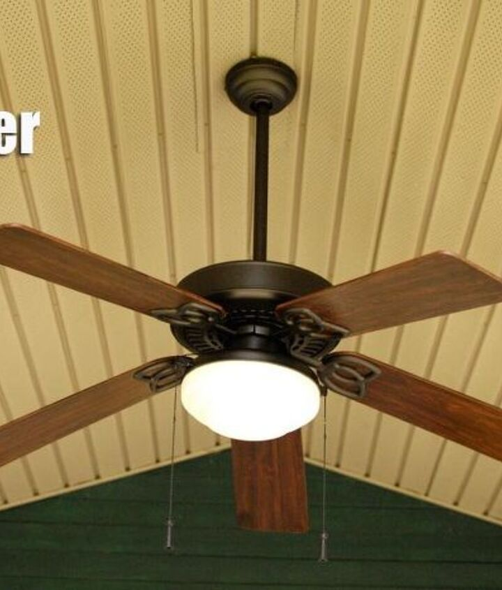 thrifty diy outdoor fan makeover, lighting, outdoor living, porches, repurposing upcycling
