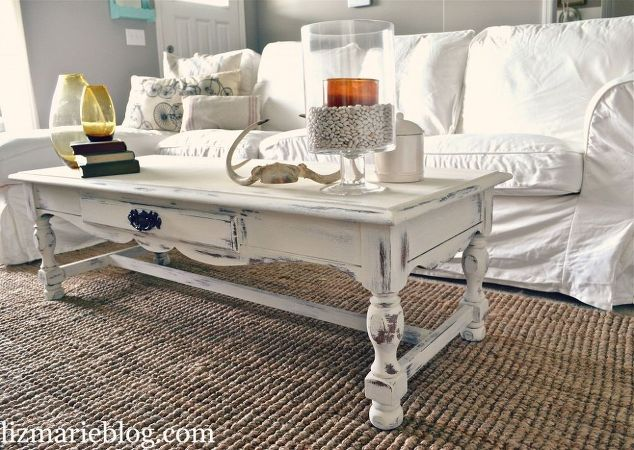 Shabby Chic White Coffee Table Re Do Home Decor Painted Furniture