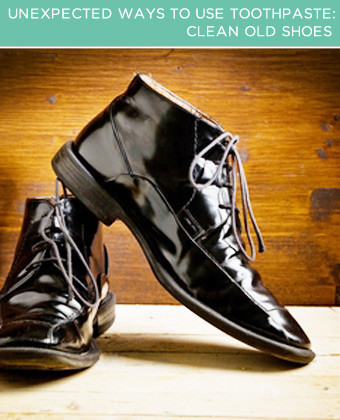 To remove marks from leather shoes, squirt a dab of toothpaste on the scuff and rub it vigorously with a soft cloth.