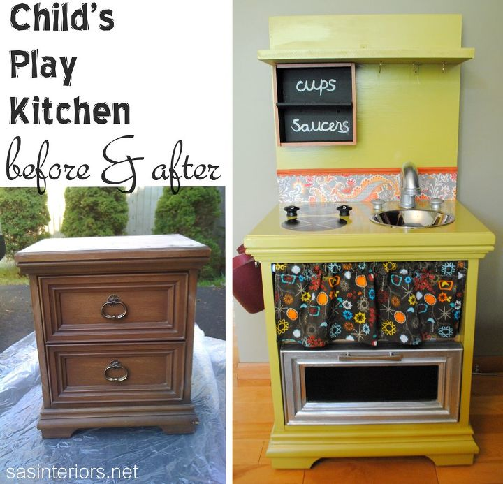 diy kids play kitchen, repurposing upcycling