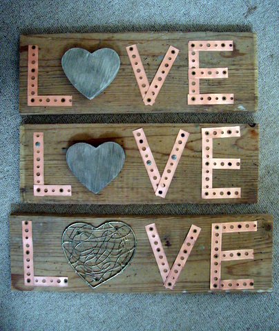 love sign from barnwood and metal strapping, crafts
