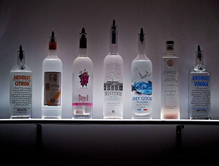 led lighted wall mounted liquor shelves bottle display hometalk. Black Bedroom Furniture Sets. Home Design Ideas