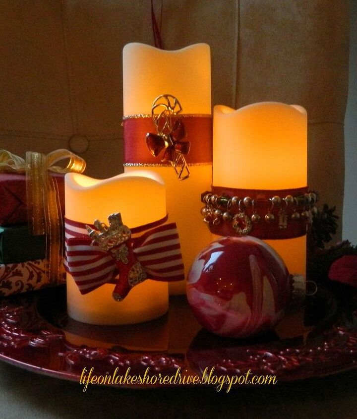 decorate candles using christmas jewelry, christmas decorations, crafts, seasonal holiday decor