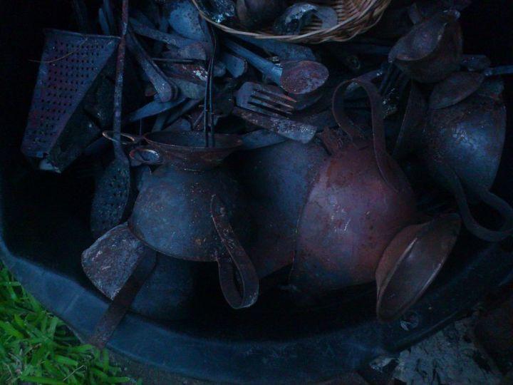 Stainless steel gravy boats, milk jugs, cutlery