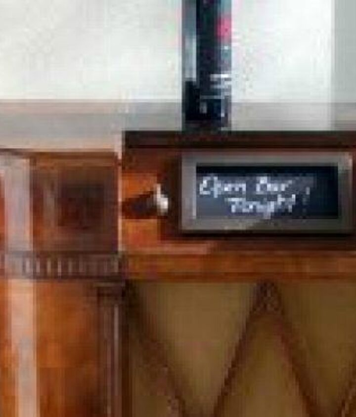 """Our very own mini bar!  It was important to us that it held onto it's beautiful woodgrained dignity.  Wish the radio panel survived but then again...our mini chalkboard is a great place to put the """"drink of the day"""" info!  Cheers"""