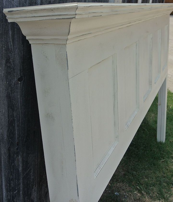 5 panel old door headboard popcorn white and chelsea gray distressed, painted furniture, repurposing upcycling